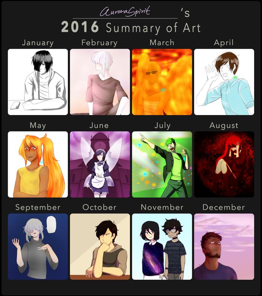 2016 Art Summary! by AuroraSpirit