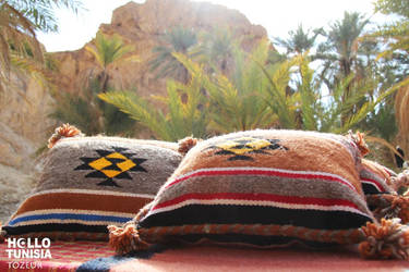 Chebika Oasis and pillow by HelloTUNISIA