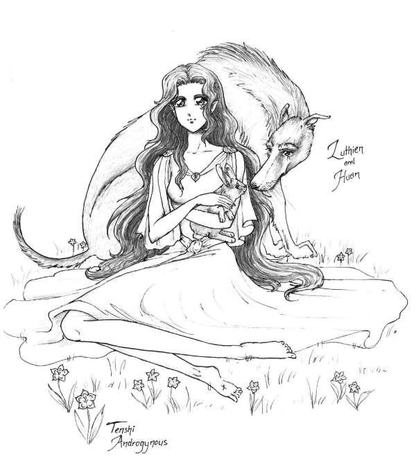 Luthien and Huan by Tenshi-Androgynous