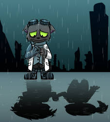Sanity Within Dystopia - A Sad Cat in the Rain