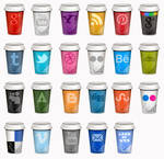 UPDATED Set of Social Icons Takeout Coffe Cup