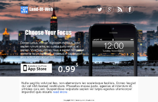 FREE iPhone5 App Landing Page PSD Template by NatalyBirch