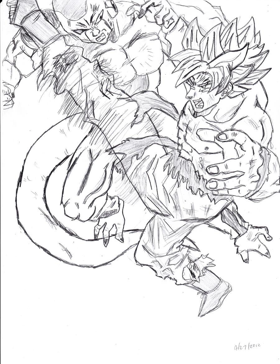 Perfect Dragon Ball Z Goku Vs Vegeta Coloring Pages Motif - Examples ...