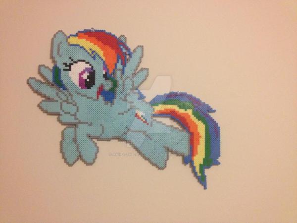 Rainbow Dash Perler - Wall Hanging by Akira-The-Alicorn
