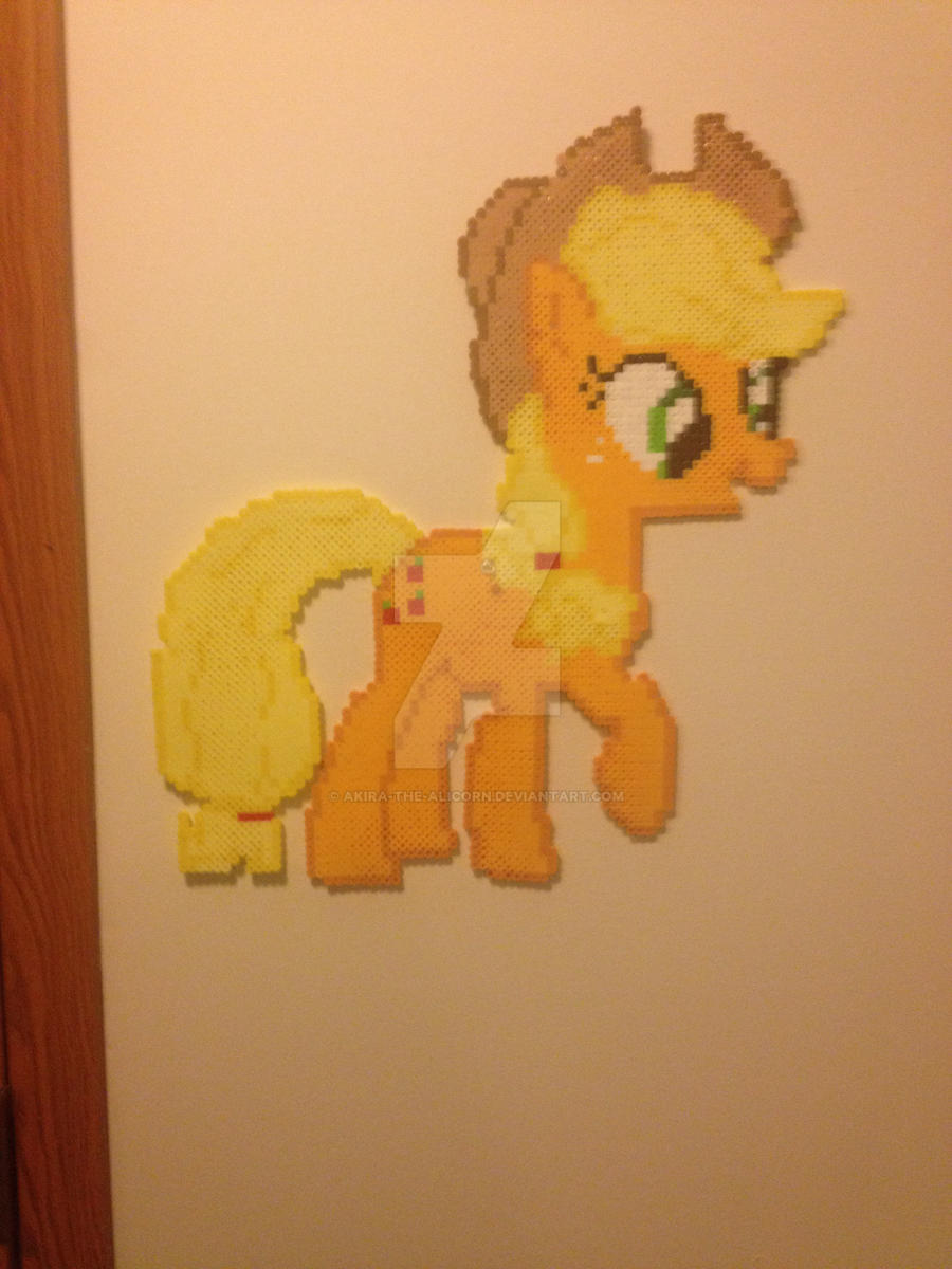 Apple jack perler wall hanging by Akira-The-Alicorn on DeviantArt
