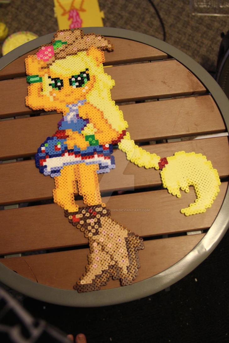 Equestria Girls- Rainbow Rocks Applejack perler by Akira-The-Alicorn