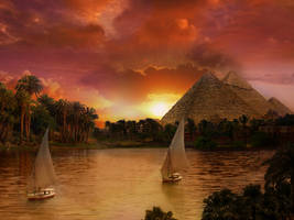 Pyramid sunset by batkya