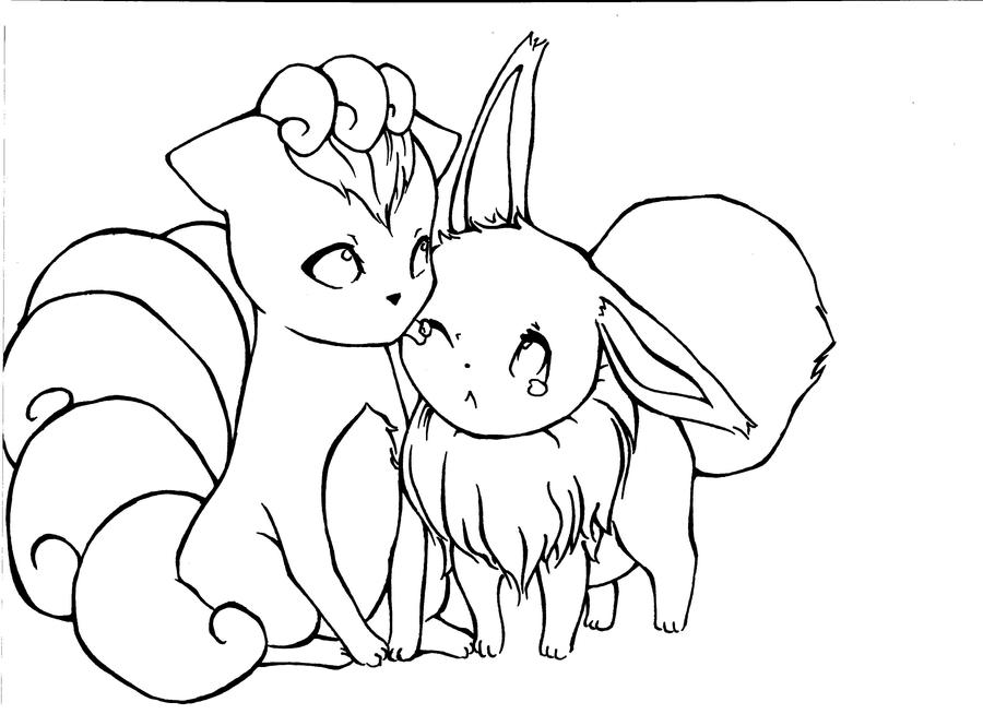 eevee and vulpix by hapimana on deviantart