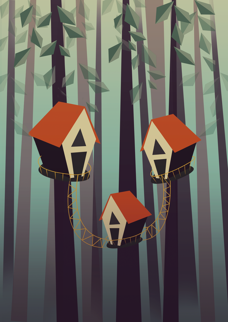 Treehouse Illustration by aydanhasanova
