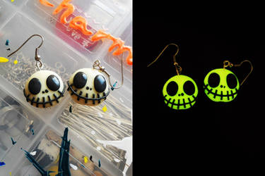 JACK SKELLINGTON earrings for halloween. (GITD)