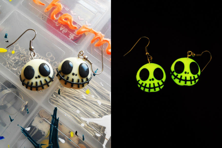 JACK SKELLINGTON earrings for halloween. (GITD) by K3ShaneDawson