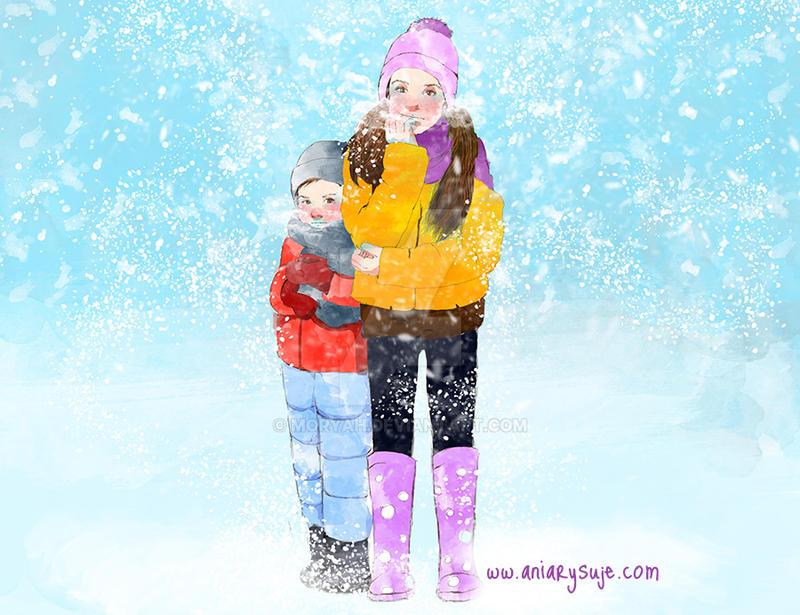 Cold - girls magazine illustration by Moryah