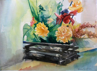 Artificial Flowers in a Basket by SufiaEasel