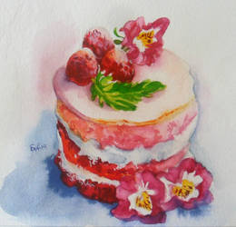 Pink Ombre Rhubarb Mini Cake by SufiaEasel