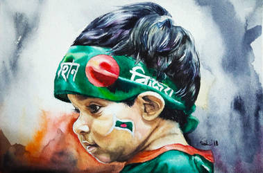 A child on Victory Day of Bangladesh by SufiaEasel