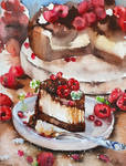 Watercolor Cake with Raspberries