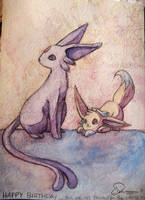 bday card: espeon + eevee by cottonball