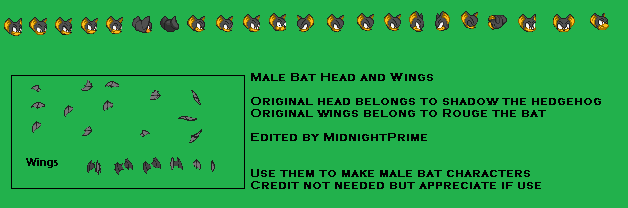 Male Bat Head And Wings by MidnightPrime