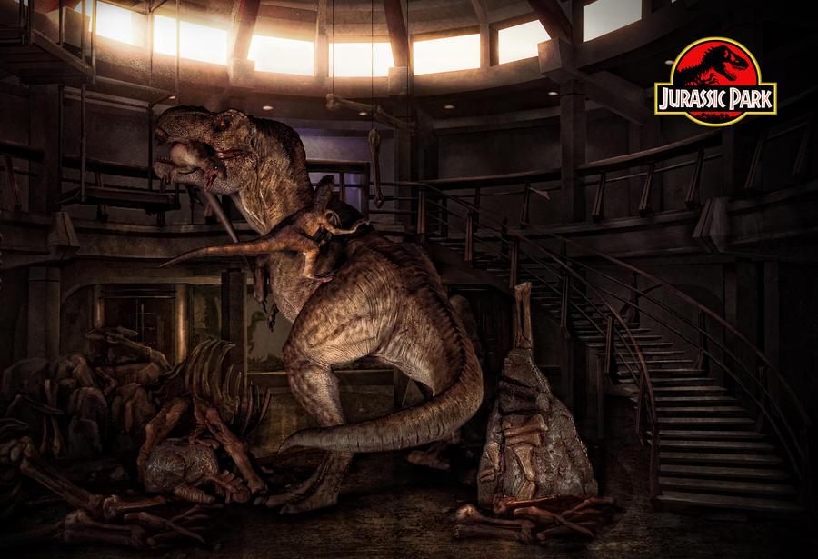 Epic Scene of Jurassic Park - T-rex vs. Raptor by tomzj1