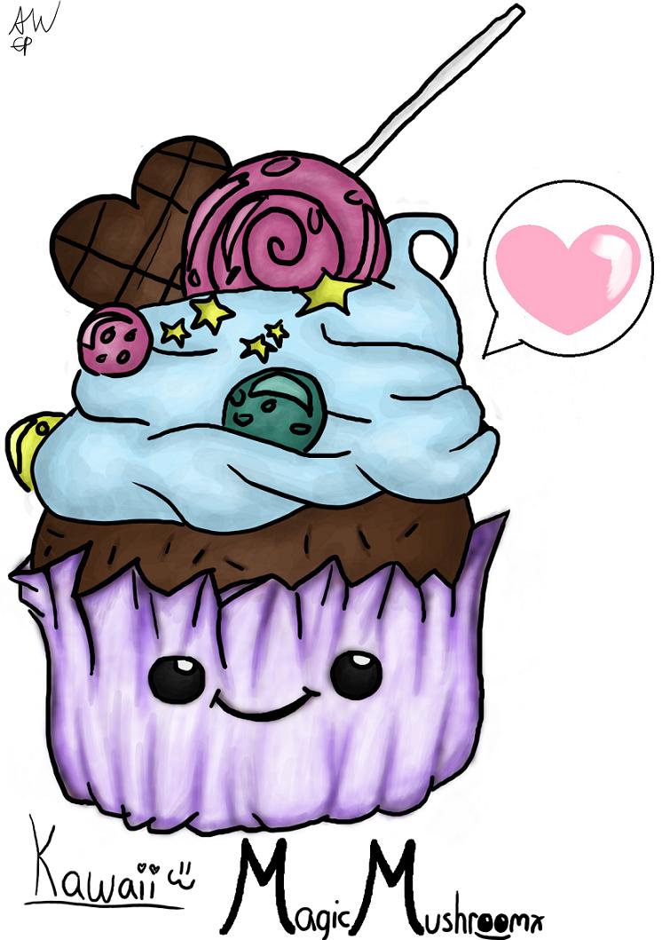 Kawaii cupcake by MagicMushroomx