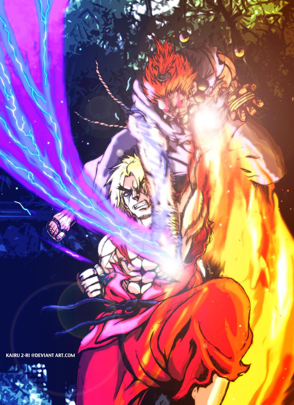 Ken versus Gouki by KAIRU-2RI