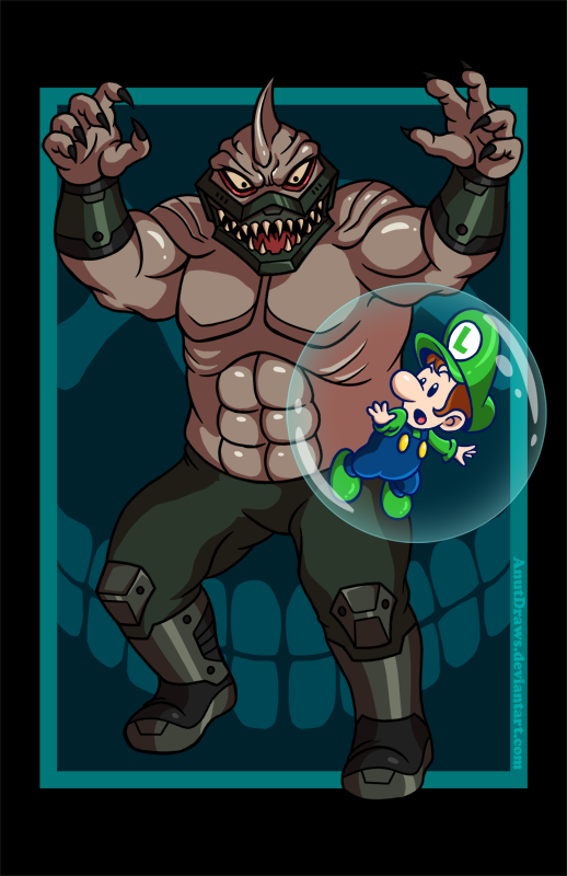 King Shark vs. Baby Luigi by AnutDraws