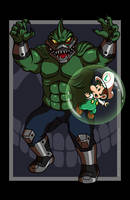 King Shark vs. Baby Luigi VARIANT by AnutDraws