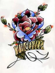 Manu rose and name tattoo