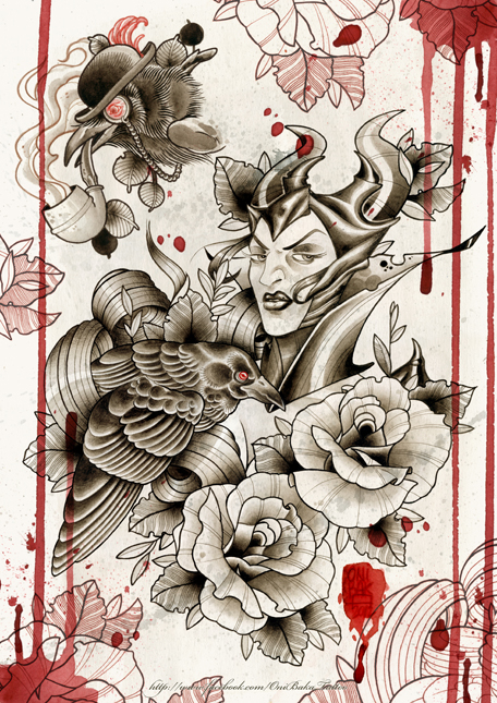 Tattoo Flash Book page example by OniBaka