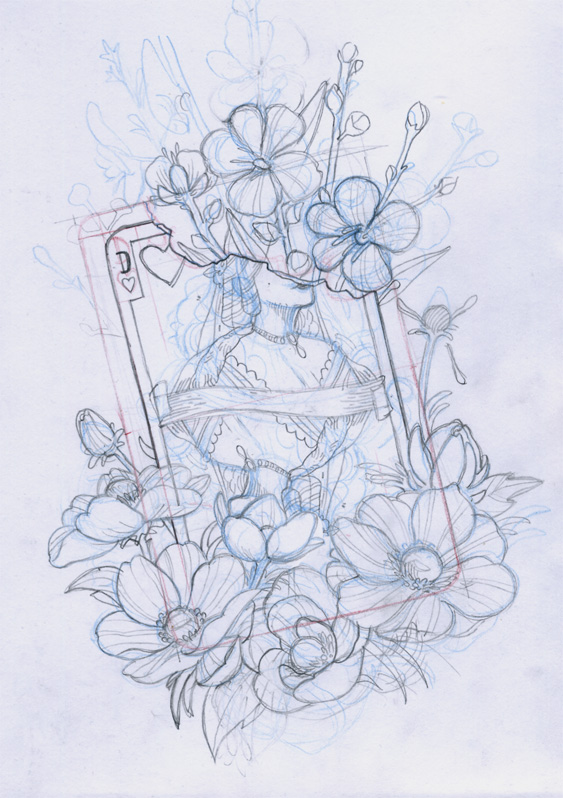 Queen And Flowers Sketch by OniBaka