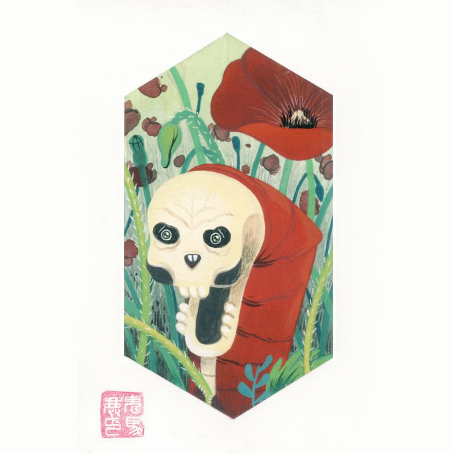 Skull caterpillar with poppies by OniBaka