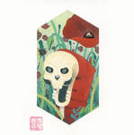 Skull caterpillar with poppies