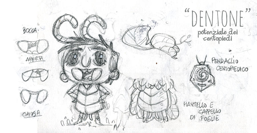 Dentone character sheet sketck by OniBaka