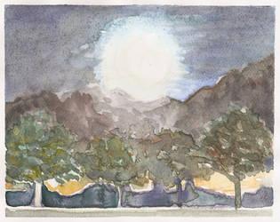 Harvest Moon Watercolor