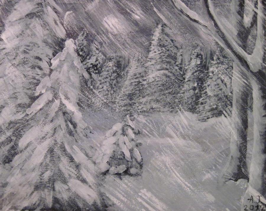 Snow storm night by Wintella