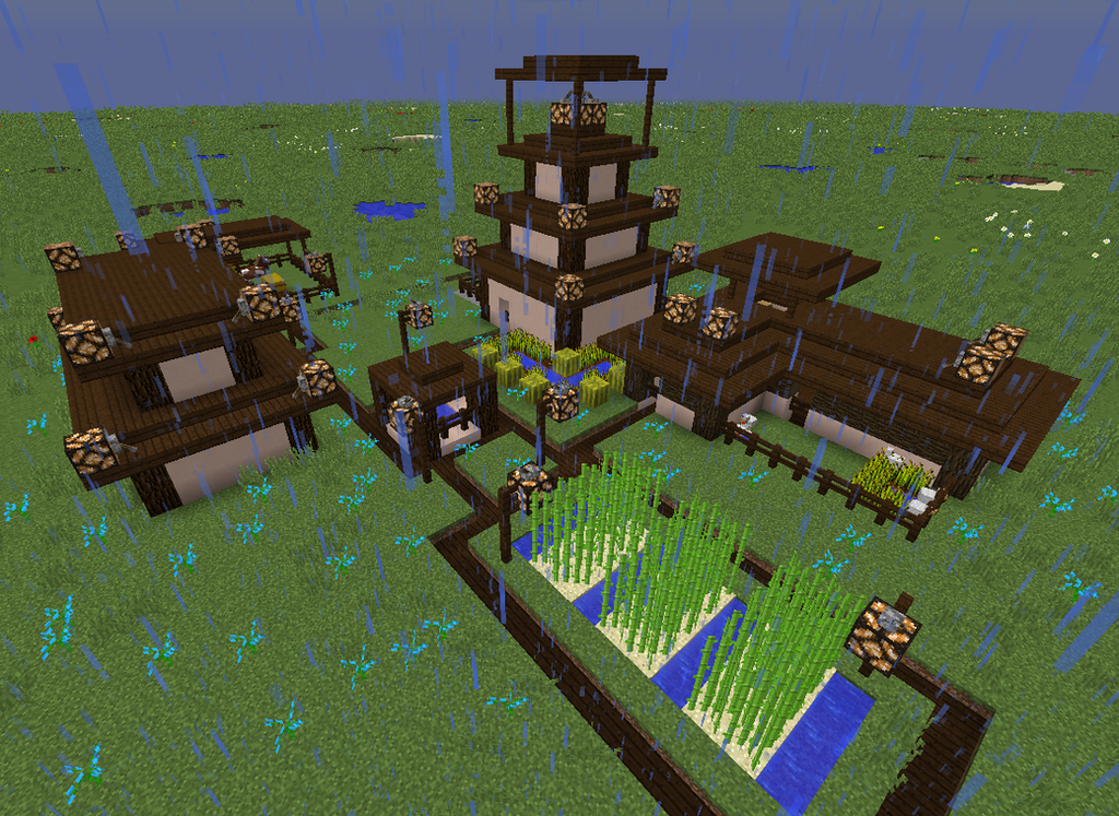minecraft japanese village by aetherny