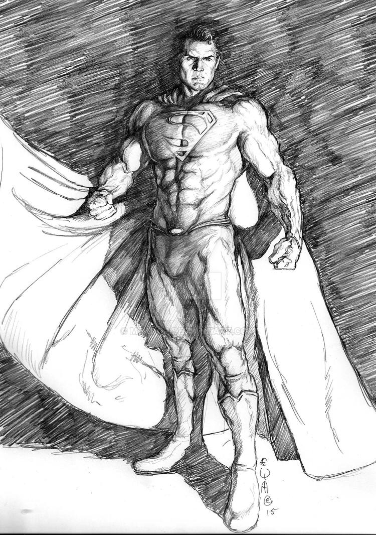 Superman of Steel Sketch by Eric Meador by Meador