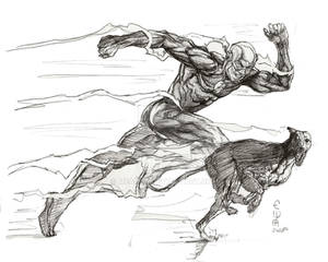 The Flash and Greyhound sketch by Eric Meador