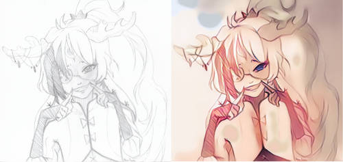 Illese drawing colored usint PaintsChainer by KeoRawn