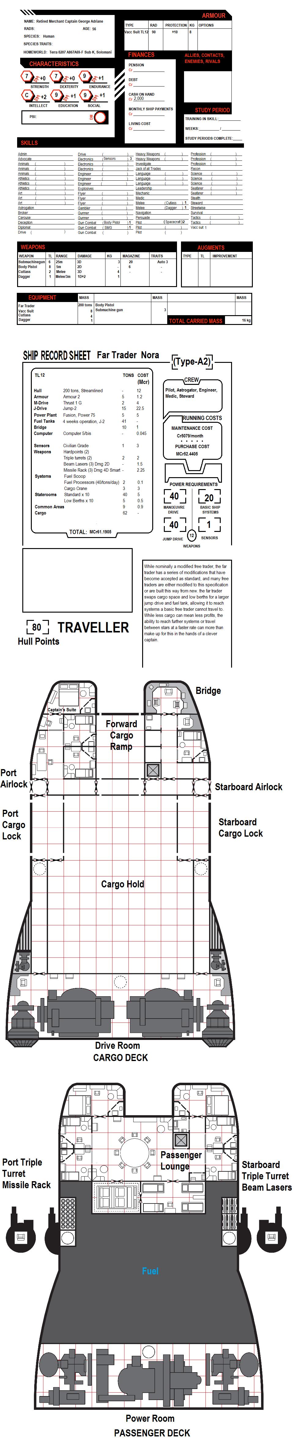 Traveller Character Sheet Retired Merchant Captain
