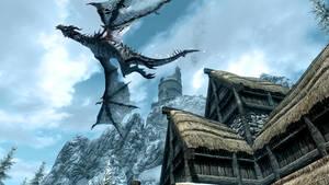 Skyrim Frost Dragon in Flight