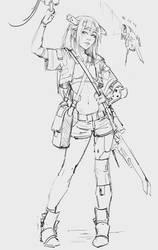 Sketch cyborg girl