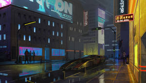 Cyberpunk city street.
