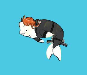 Black Widow, The Russian Spy Beluga Whale by Bebebees