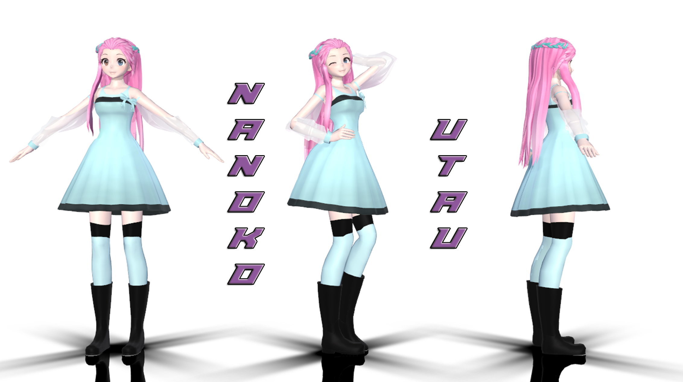 mmd - nanoko - model and utau voicebank