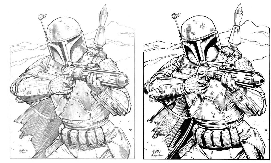 Boba Fett Inked Over Flowcoma By Bright Raven