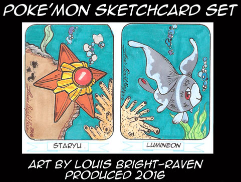 Staryu Lumineon Sketchcard Set (Available) by Bright-Raven