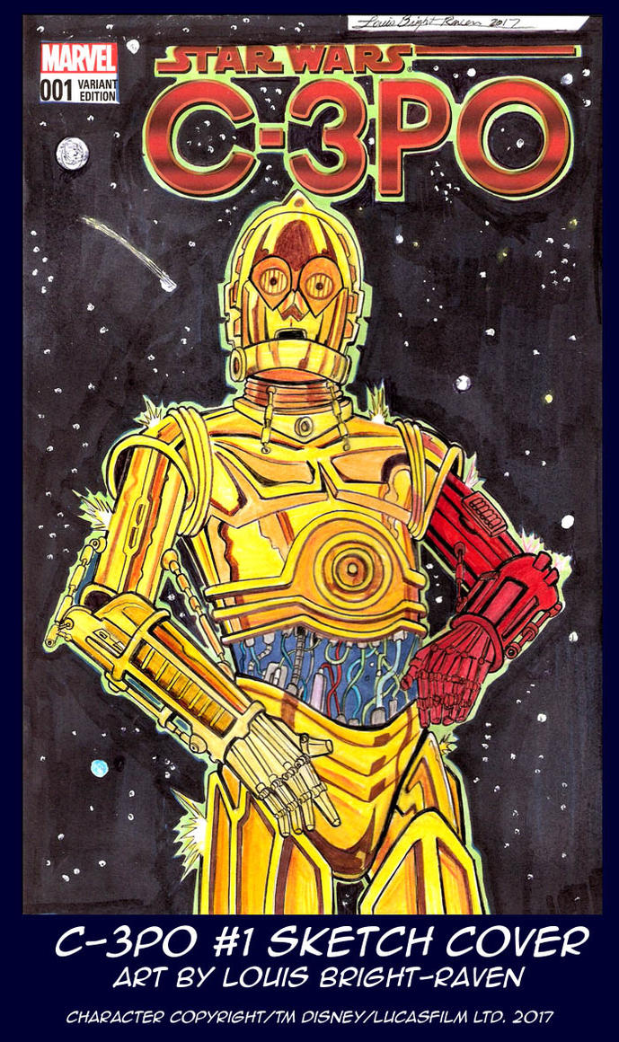 C3PO #1 Sketch Cover (Available) by Bright-Raven