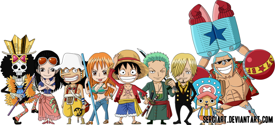 One Piece Chapter 851: Đầu thuốc lá. Chibi_straw_hat_pirates_by_sergiart-d56tmy9