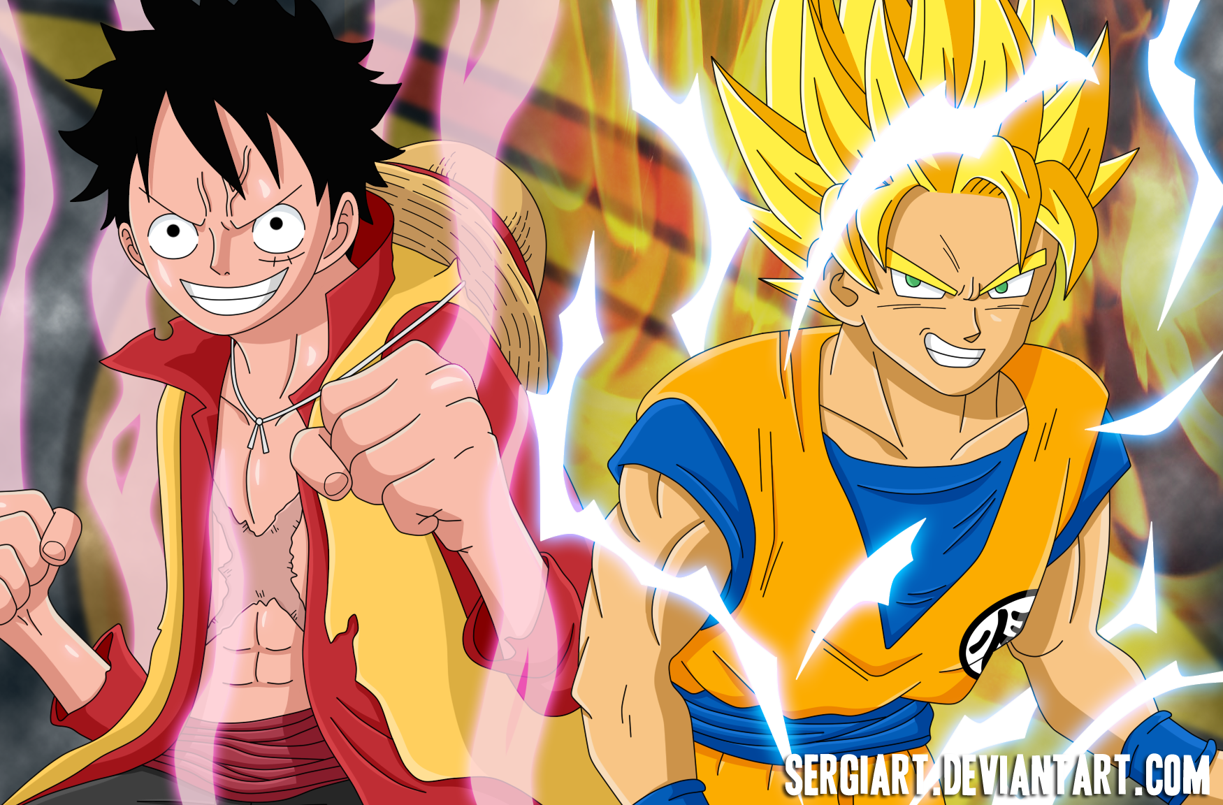 Luffy and Goku by SergiART